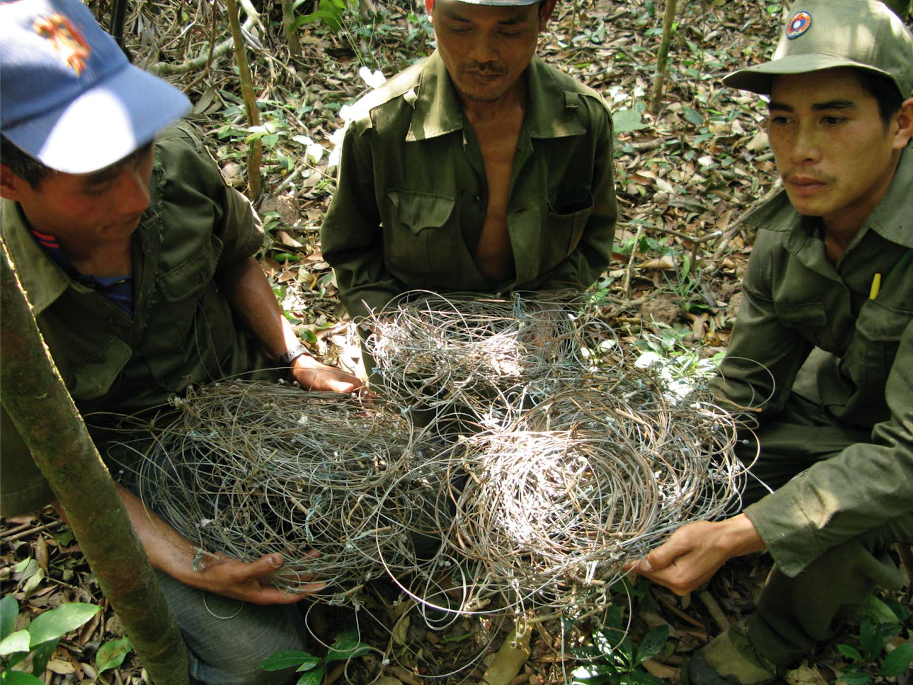 Patrol team with wire snares