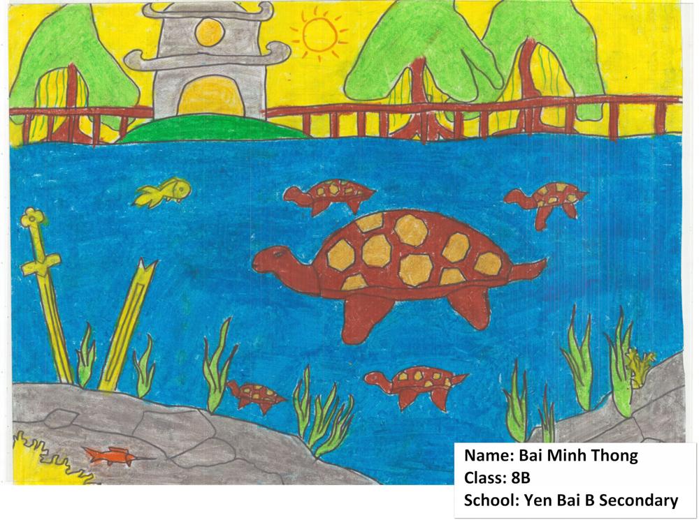 Childrens artwork of turtles