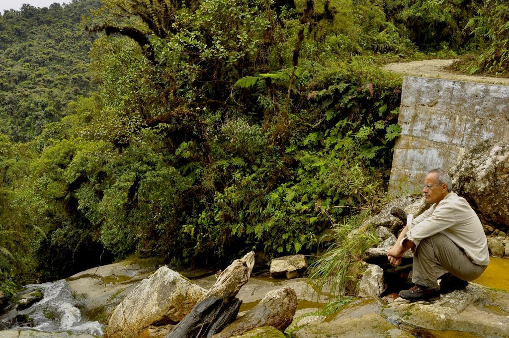 De la Riva returns in 2013 to the exact location where he discovered the Sehencas Water Frog, and looks down over habitat that has been destroyed since that discovery. (Photo by Patricia Burrowes)