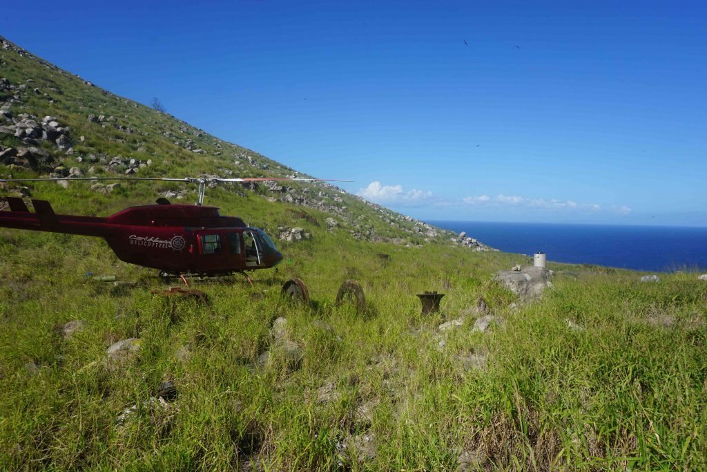 Redonda can only be reached by helicopter. As the vegetation recovers, landing is becoming more difficult (Photo by Mike Appleton, Global Wildlife Conservation)