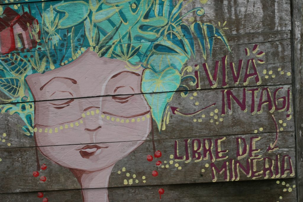 A sign in Intag calling for a mining-free area. (Photo by Elicio Tapia)