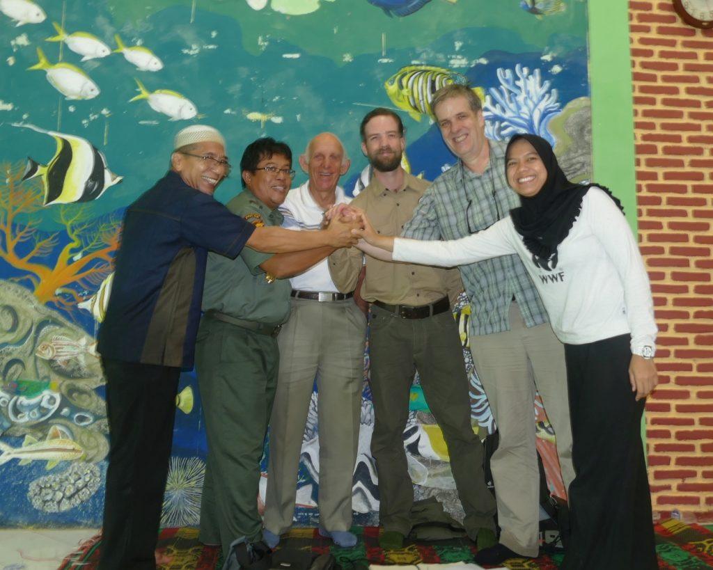 United to protect the Javan Rhino. From right to left: Kurnia Khairani (WWF), Mike Appleton and James Slade (GWC), Mike Griffiths (WPS), Mamat Rahmat (Head of Ujung Kulon NP) and Mr. Haryani (YABI). (Photo courtesy of Mike Appleton)