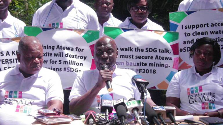 The Concerned Citizens of the Atewa Forest Landscape hold a press conference to encourage the president to designate Atewa Forest a national park. (Photo courtesy of A Rocha)