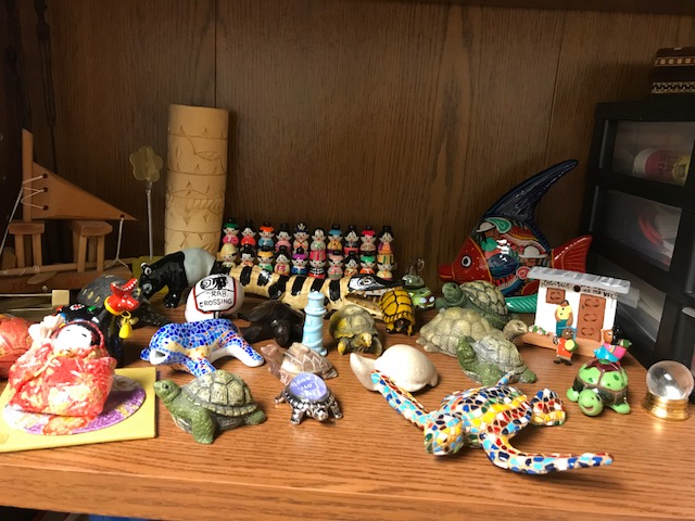 Turtle and tortoise trinkets from Ella's office.
