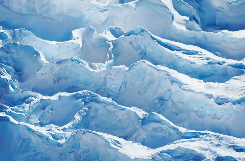Zaria Forman, Jakobshavn Glacier, Greenland, 69° 47′ 31.092″N 49° 47′ 31.7076″W, April 29th, 2017, soft pastel on paper, 108 3/8 x 68 in. (150.8 x 242.6 cm.), Executed in 2018. Donated by the artist and Winston Wächter Fine Art, New York