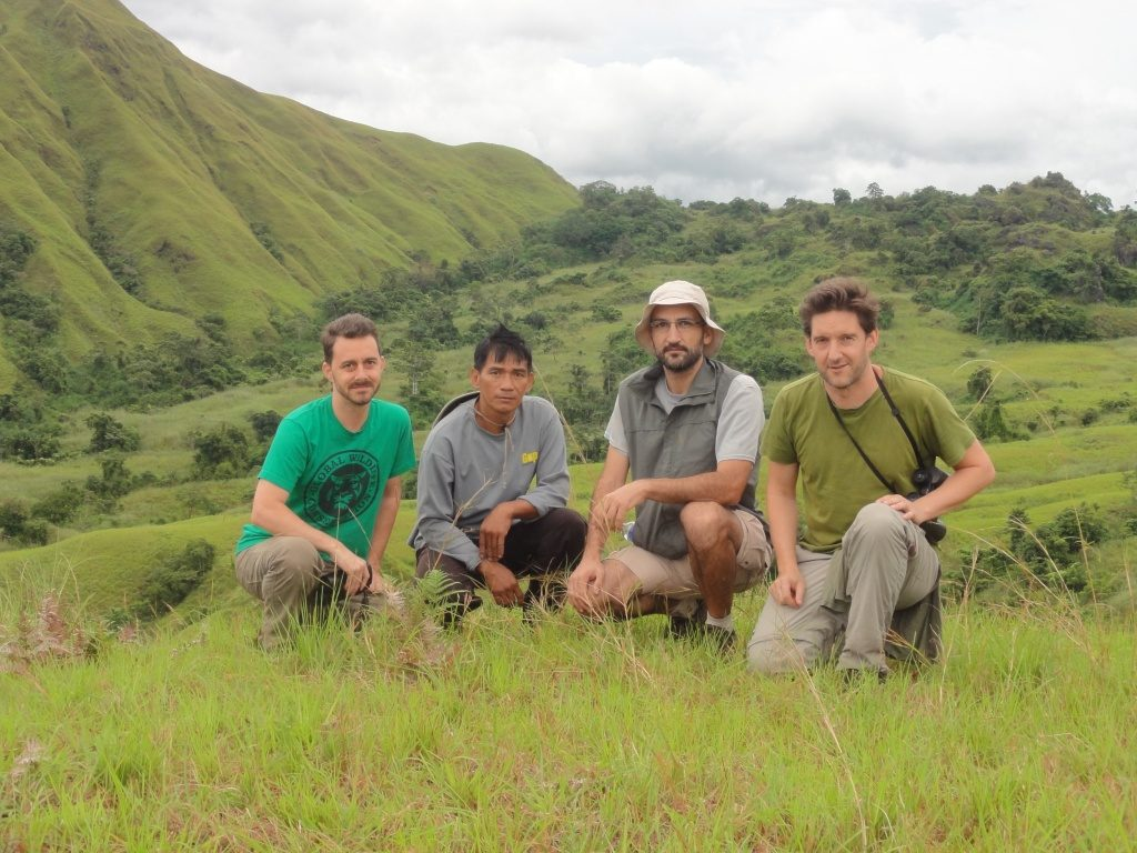 Team Tamaraw! GWC's Barney Long, Rudi the head ranger in the Tamaraw sector of Mounts Iglit-Baco National Park, Emmanuel Schütz of D'ABOVILLE Foundation, and James Burton, chair of the IUCN Asian Wild Cattle Specialist Group. (Photo courtesy of © D'ABOVILLE Foundation)
