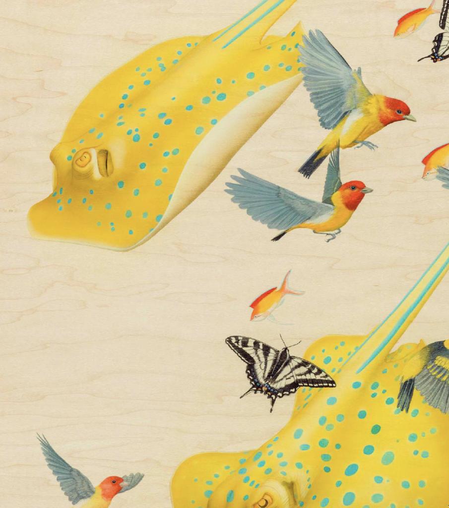 Tiffany Bozic, Joy, acrylic on maple panel, 49 x 32 in. (124.4 x 81.2 cm.), 2017, detail.