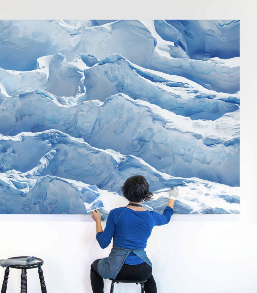 Process shot of Zaria Forman at work on Jakobshavn Glacier, Greenland, 69° 47'31.092″N 49° 47′ 31.7076″W, April 29th, 2017.