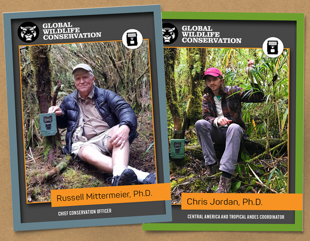 GWC's Dr. Chris Jordan (left) and Dr. Russ Mittermeier (right) go head-to-head in a fierce camera trap competition in Costa Rica's Los Quetzales National Park.