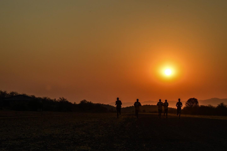 Rangers under a sunset