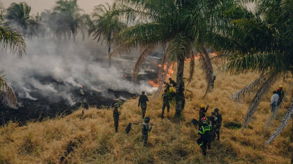 Combating wildfires in Bolivia