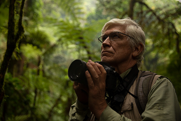 Russ Mittermeier in Tanzania during a trip to see the Kipunji Monkey, the 79th and last genus of monkey on his primate-watch list. Credit: Stuart Dunn/BBC