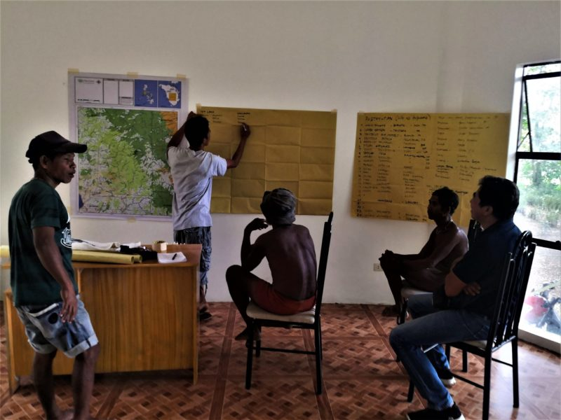 Allan Lumawig (second from left) facilitates a discussion among the Tau-buid fagtaynans (community leaders), Protected Area Superintendent, and D'Aboville Foundation system to document the Tau-buid traditional practices.