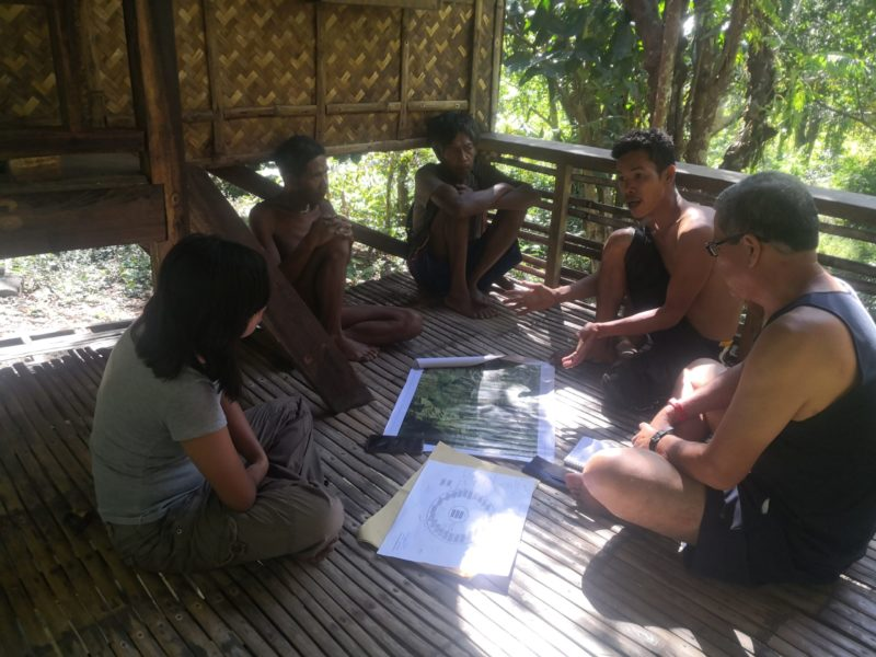 Allan Lumawig (second from right) facilitates a discussion among the Tau-buid fufuamas (elders), MIBNP PAMO staff, and D'Aboville Foundation staff
